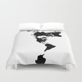 Dymaxion World Map (Fuller Projection Map) - Minimalist Black on White Duvet Cover
