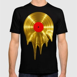Melting vinyl GOLD / 3D render of gold vinyl record melting T-shirt