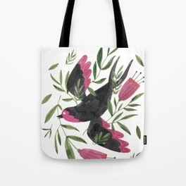 Swallow with Flowers Tote Bag