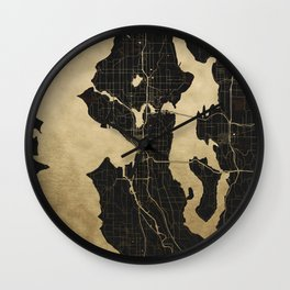 Seattle Black and Gold Map Wall Clock