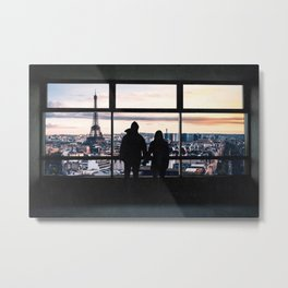 Paris France Window and Couple Looking at the City Metal Print