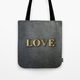 LOVE black leather gold letters Tote Bag