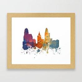 Cincinnati - Painted Skylines Framed Art Print