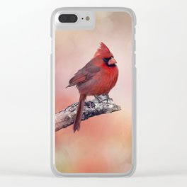 Male  Northern Cardinal perching on a branch Clear iPhone Case