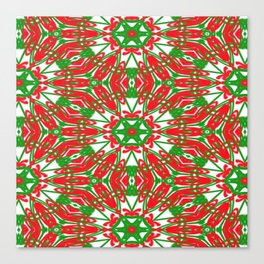 Red, Green and White Kaleidoscope 3376 Canvas Print