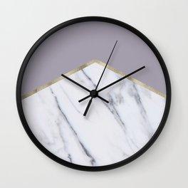 Smokey lilac - gold geometric marble Wall Clock