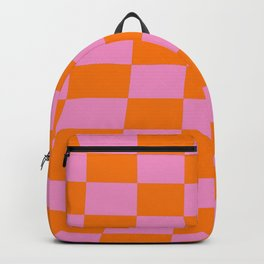 Warped perspective coloured checker board effect grid illustration orange and pink Backpack