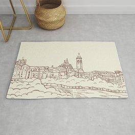 Hand drawn skyline of Citta Alta Bergamo, Italy Rug