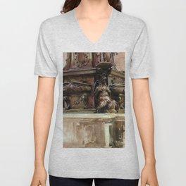 """John Singer Sargent """"The Fountain, Bologna"""" Unisex V-Neck"""