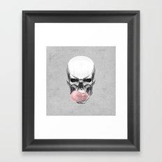 Skull chewing bubblegum Framed Art Print