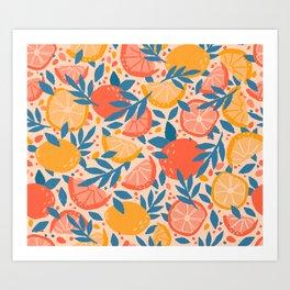 Citrus Orange & Lemon Art Print