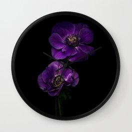 Two Purple Anemones Wall Clock