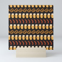 Beer, pretzels, and sausages for the Oktoberfest Mini Art Print