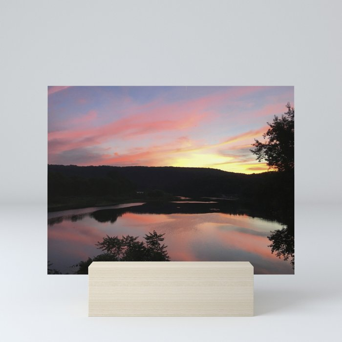 Summer Solstice Sunset Across The Big Eddy Mini Art Print