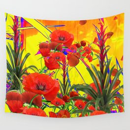 MODERN TROPICAL FLOWERS GARDEN DESIGN IN YELLOW-ORANGE COLORS Wall Tapestry