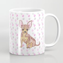 Cute Chihuahua Puppy in Watercolor and Paw Prints Coffee Mug