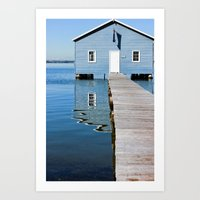 The Blue Boat House Art Print