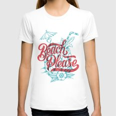 Beach Please SMALL White Womens Fitted Tee