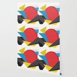 Memphis Sun Abstract Throwback Retro 1980s 80s Trendy Hipster Pattern Eighties Wallpaper