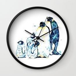 Penguin Family of 5 Watercolor Painting Wall Clock