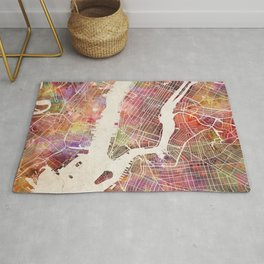 New York Map Watercolor Rug
