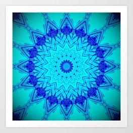 Bright blue turquoise Mandala Design Art Print