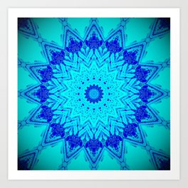Bright blue turquoise Mandala Design Art Print