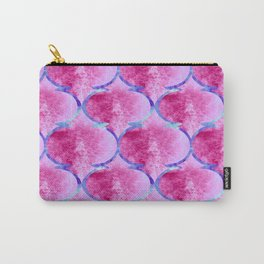 Watercolor Moroccan Quatrefoils in Magenta Pink and Blue Carry-All Pouch