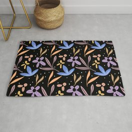 Colorful floral Cut Out Flowers and Shapes X Rug