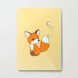 Cute Little Fox Watching Butterly Metal Print