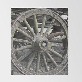 Raw Chariot Wheel Throw Blanket