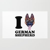 german shepherd Area & Throw Rugs featuring I Love German Shepherd modern v1 by Vehicle
