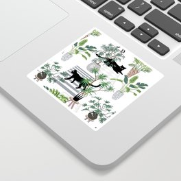 cats in the interior pattern Sticker