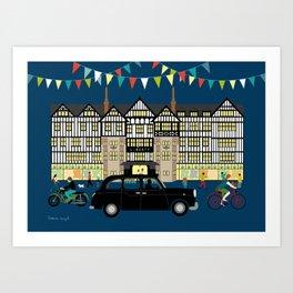 Art Print of Liberty of London Store - Night with Black Cab Art Print