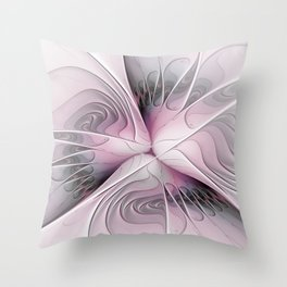 Fantasy Flower, Pink And Gray Fractal Art Throw Pillow