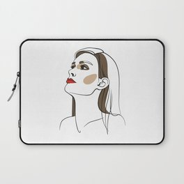Woman with long hair and red lipstick. Abstract face. Fashion illustration Laptop Sleeve