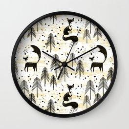 Foxy in winter pine forest Wall Clock