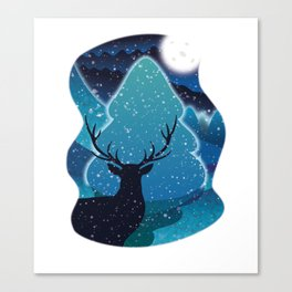 Hello Deer Winter Canvas Print