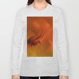 Columbine Flower Edited Orange Long Sleeve T-shirt