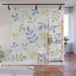 Assorted Leaf Silhouettes Blue Green Grey Yellow White Wall Mural