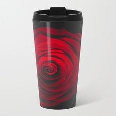 Red rose on black background vintage effect Metal Travel Mug
