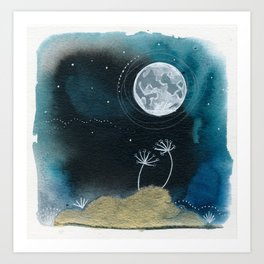 Moon Series #11 Watercolor + Ink Painting Art Print