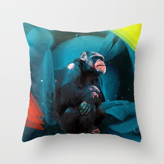 Space Chimp Throw Pillow