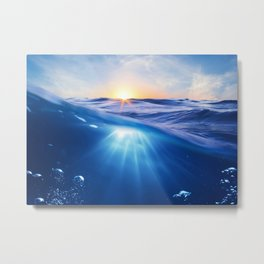 Underwater wave with sun and ray of light Ocean amazing nature photo Metal Print