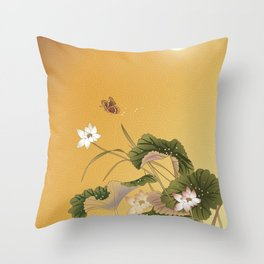 lotus_vector draw Throw Pillow
