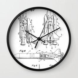 Nasa Space Shuttle Patent - Nasa Shuttle Art - Black And White Wall Clock