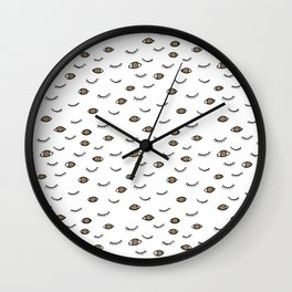 Brown eyes and eye lashes, black and white, pattern Wall Clock