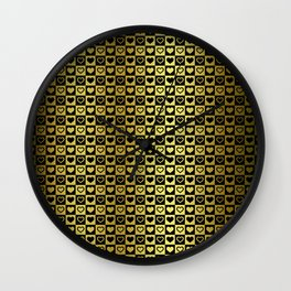 Gold & Black Valentines Loveheart Square Checkers Wall Clock