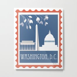 Washington, D.C. - Skyline Illustration by Loose Petals Metal Print