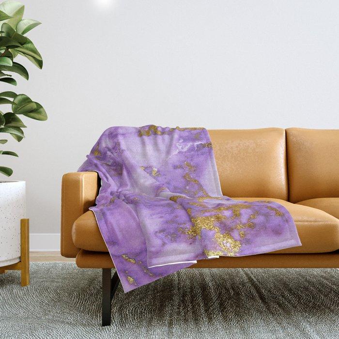 Purple Gilded Marble Throw Blanket